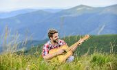 Hipster Musician. Inspiring Environment. Summer Music Festival Outdoors. Silence Of Mountains And So poster