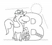Letter B And Funny Cartoon Unicorn. Animals Alphabet A-z. Coloring Page. Printable Worksheet. Handwr poster