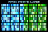 Green, Blue Glossy Gradient, Metal Foil Texture. Color Swatch Set. Collection Of High Quality Vector poster