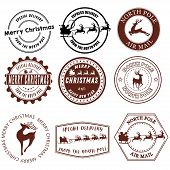 Set Of Santa Claus Signs. Collection Of Stamps Of The North Pole. Vector Illustration Of Stamps For  poster