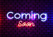 Coming Soon Neon Sign Vector. Coming Soon Design Template Neon Sign, Light Banner, Neon Signboard, N poster