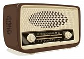 Realistic Vector Image Of An Old Radio Receiver Of The Last Century In Retro Style. Isometric Illust poster