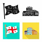 Vector Illustration Of Culture And Sightseeing Sign. Set Of Culture And Originality Vector Icon For  poster