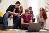 Group Of College Students In Lounge Of Shared House Studying Together poster