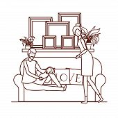 Parents Couple With Little Baby In Livingroom Characters Vector Illustration Design poster