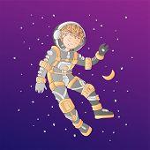 Cute Cartoon Asrtonaut Girl Floating In Space Vector Illustration. Girl In Space Helmet Among Stars, poster