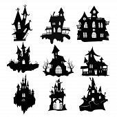 Set Of Haunted Houses For Halloween. Collection Of Castles With Monsters. Black House Sieves. Vector poster