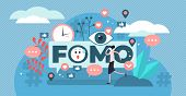 Fomo Vector Illustration. Flat Tiny Fear Of Missing Out Person Concept. Social Anxiety Cause And Sym poster