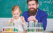 Explaining Chemistry To Kid. How To Interest Children Study. Fascinating Chemistry Lesson. Man Beard poster
