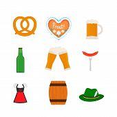 Traditional Oktoberfest Symbols Heart-shaped Gingerbread, Pretzel, Mug, Glasses, Bottle, Sausage, Di poster