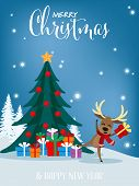 Christmas Cartoon Of Reindeer With Gift Box, Christmas Tree And Merry Christmas Text. Cute Christmas poster