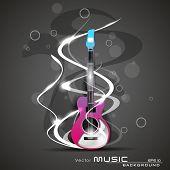 Постер, плакат: Музыкальные волны фон с блестящей музыкальные ноты на фоне красного цвета EPS 10 можно использовать как fl