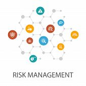 Risk Management Presentation Template, Cover Layout And Infographics. Control, Identify, Level Of Ri poster