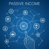 Passive Income Concept, Blue Background.affiliate Marketing, Dividend Income, Online Store, Rental P poster