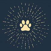 Beige Paw Print Icon Isolated On Dark Blue Background. Dog Or Cat Paw Print. Animal Track. Abstract  poster