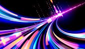 A Futuristic Illustration In Vector Of Light Trails In Cyberpunk Style, Light Speed Effect, Slow Shu poster