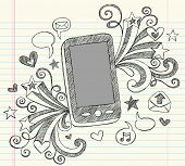 Hand-Drawn Mobile Cell Phone PDA Sketchy Notebook Doodles with Swirls, Hearts, Email Icons, Speech B