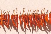 Daylight. Red Pepper Dries On A Rope In The Street. There Is Tinting poster