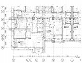 Detailed Architectural Floor Plan, Apartment Layout, Blueprint. Vector Illustration poster