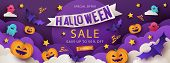 Halloween Sale Promotion Banner With Cutest Pumpkins, Bats And Ghosts In Night Clouds On Violet Back poster