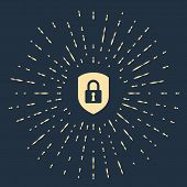 Beige Shield Security With Lock Icon Isolated On Dark Blue Background. Protection, Safety, Password  poster