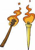 stock photo of flambeau  - Two torch on a white background vector illustration - JPG