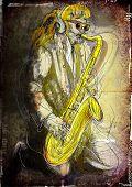 stock photo of sax  - Saxophonist - JPG