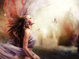 stock photo of garden-art  - Fashion Art Beauty Portrait - JPG