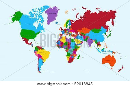 World Map, Colorful Countries poster