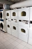 Row of self-service clothes dryers in laundry