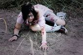 pic of gruesome  - Woman pretending to be a zombie sits on a road - JPG