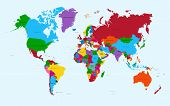 World Map, Colorful Countries