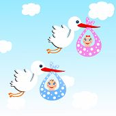 foto of mimicry  - storks carry babies on a background blue skyillustration a raster - JPG