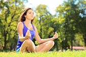 picture of stressless  - Young female athlete in sportswear meditating seated on a grass in a park - JPG
