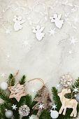 Christmas decoration on the grey cracked stone background