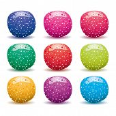 picture of sugar paste  - vector set of colorful fruit jellies isolated on white - JPG