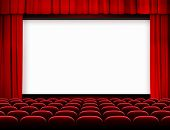 picture of cinema auditorium  - cinema screen with red curtains and seats - JPG