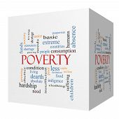 Poverty 3D Cube Word Cloud Concept