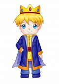 stock photo of chibi  - Cute cartoon illustration of a king isolated on white - JPG