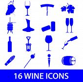 picture of wine-press  - set of 16 blue wine icon eps10 - JPG