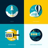 pic of process  - Flat vector design of the startup process cloud storage responsive web design and SEO with rocket hot air balloon plane and submarine - JPG