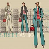 Fashionable Girl In Blue Coat.Options Ensemble.fashion Illustration