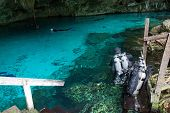 picture of cenote  - Sub are preparing for diving in a cenote Mexico