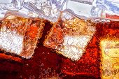 picture of coca-cola  - Background of cola with ice and bubbles - JPG