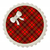 stock photo of girlie  - Illustration of a plaid circle sewing patch - JPG