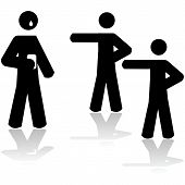 picture of prank  - Icon illustration showing two people pointing at a third person holding a smartphone and crying - JPG