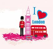 stock photo of beefeater  - grunge frame with icons of London  - JPG