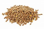 stock photo of flaxseeds  - Heap of brown flax seed or linseed isolated on white background - JPG