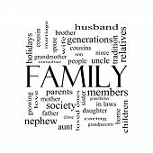 stock photo of niece  - Family Word Cloud Concept in black and white with great terms such as loving parents home and more - JPG