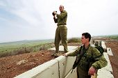 HAR KACHAL, ISRAEL - MARCH 28:  Israeli defense force (IDF) soldiers look over the border into the S